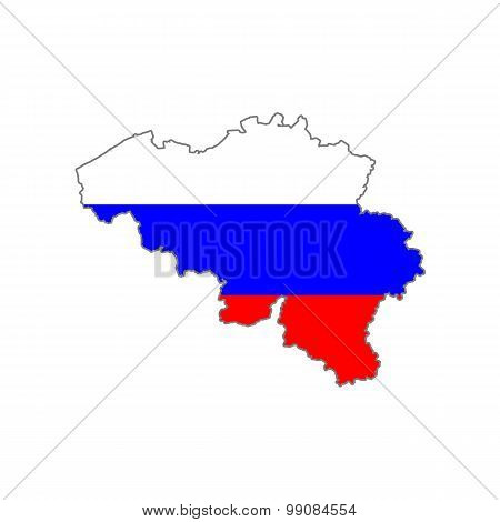 Map flag of Belgium - Russia. Russian Belgium