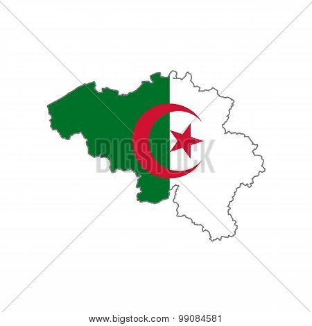 Map flag of Belgium - Algeria. Algerians in Belgium
