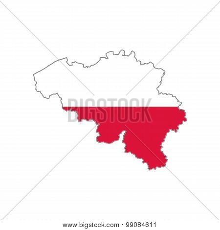 Map flag of Belgium - Poland. Poles in Belgium