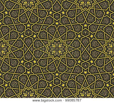 Islamic ornament golden & black background