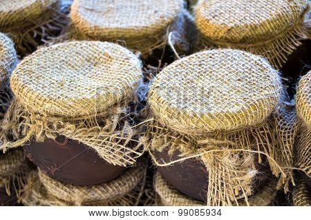 Photo of clay honey pots