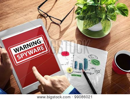 Digital Device Wireless Browsing Warning Spyware Concept