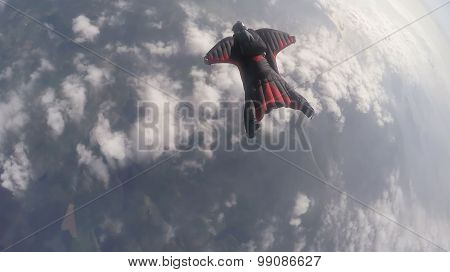 Wing suit sky diving over south norway