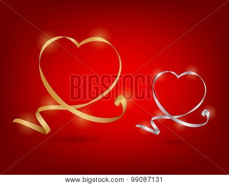 Ribbon In Heart Shape With Shadow