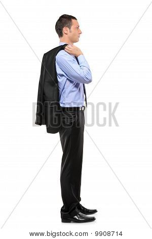 Full Length Portrait Of A Businessman Waiting In Line