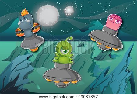 Alien In Space - Trio of Aliens in Space With Background of Universe, Planets and Stars