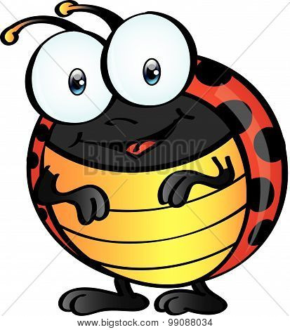 Ladybug Cartoon - Front Standing Fun Loving Ladybug