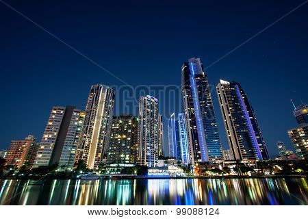 Surfers Paradise high rise buildings at night