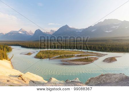 Athabasca River in Jasper National Park,Canada