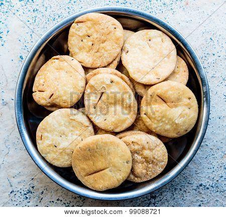 Namkeen ~ Freshly prepared Indian snacks / salt biscuits