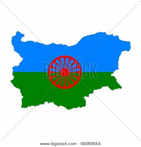 Map flag Bulgaria -Tsygane. Gypsies in Bulgaria