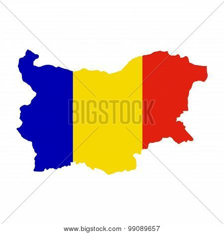 Map flag Bulgaria-Romania. Romanians in Bulgaria