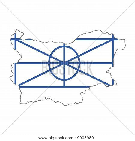 Map flag Bulgaria -Arumyny. Aromanians in Bulgaria