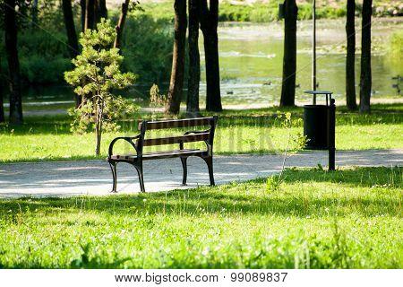 Stylish Bench In Summer Park