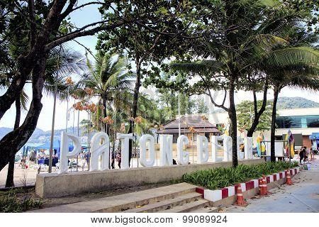 Patong Beach sign at entrance to Patong Beach, Phuket