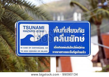 Tsunami danger sign in Phuket, Thailand