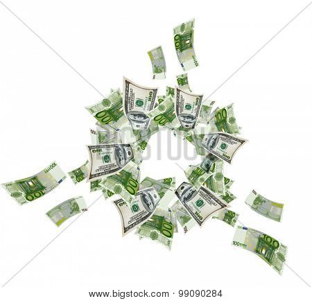 Euro and dollar bills flying on white