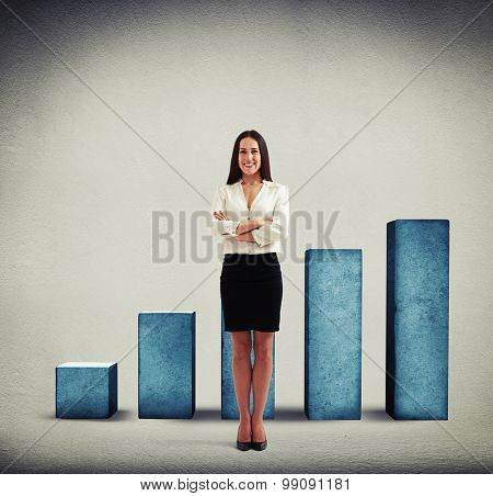 smiley businesswoman in formal wear standing over positive diagram