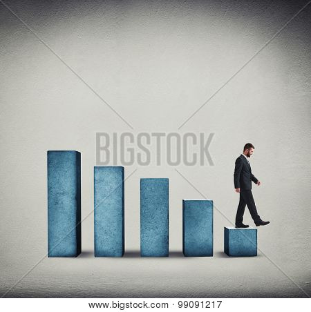 businessman in formal wear walking down the diagram over grey background
