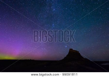 Aurora Borealis Over Lindisfarne Castle