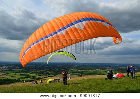 Paragliding on the South Downs.