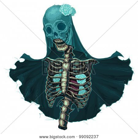 Skeleton with veil and white roses. Vector horror isolated character.