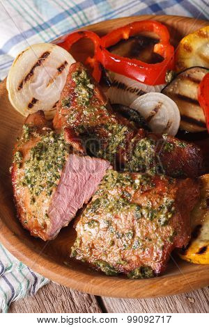 Juicy Beef And Grilled Vegetables With Pesto Close-up. Vertical