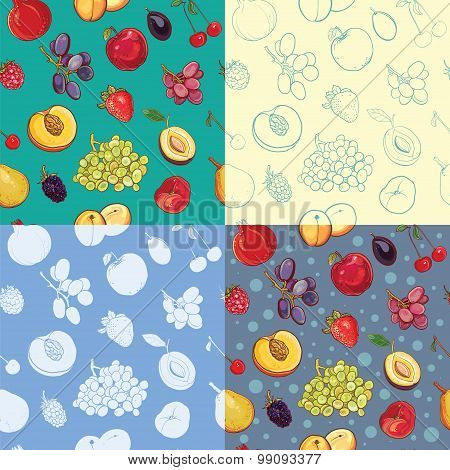 Set Of Seamless Fruit And Berry Pattern. Silhouette, Painted, Contour Backdrops.