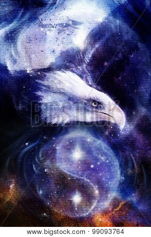 eagle on abstract background and Yin Yang Symbol in space with stars. Wings to fly, USA Symbols Free