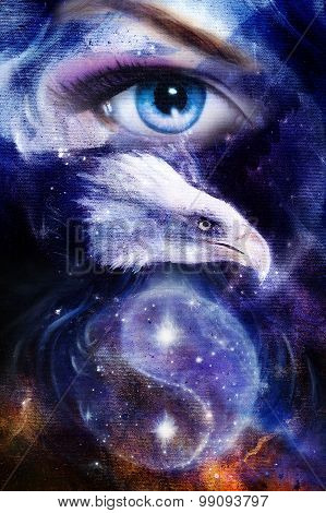 painting eagle with woman eye on abstract background and Yin Yang Symbol in space with stars. Wings