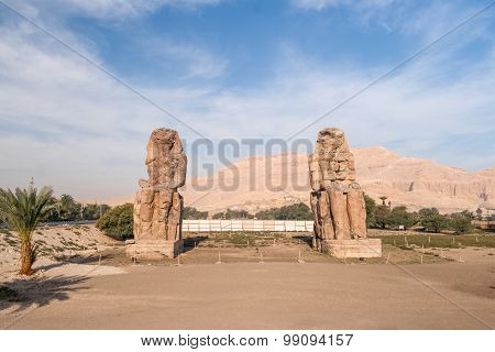 Amenhotep III's Sitting Colossi And Surroundings, Luxor, Egypt