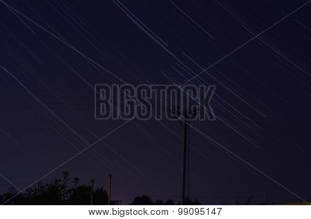 Star trails at night, Near Kiev,Ukrane