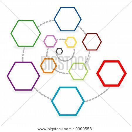 Template with hexagonal chart