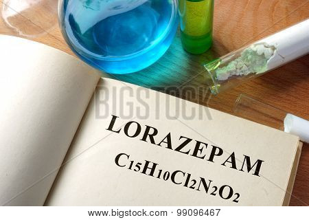 Paper with Lorazepam and test tubes.