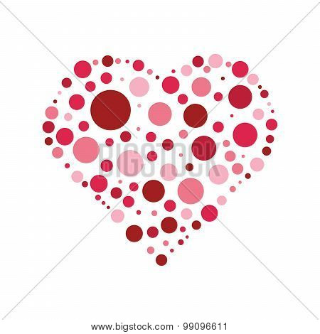 Heart shaped dots on white background