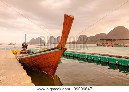 Traditional Thai Long Tail Boat , Thailand.