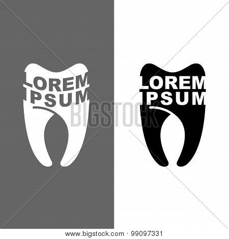 Logo For Tooth Dental Clinic. Vector Illustration Emblem For  Dentist.