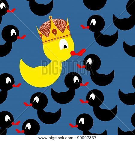 Yellow Duck In Crown. Black Duck Around A Yellow Duck. At Home Among Strangers. Vector Illust