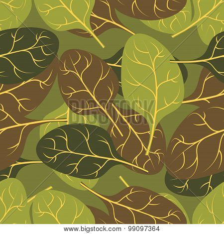 Military Texture Of  Leaves Spinach. Camouflage Army Seamless Pattern Of Foliage Plants.
