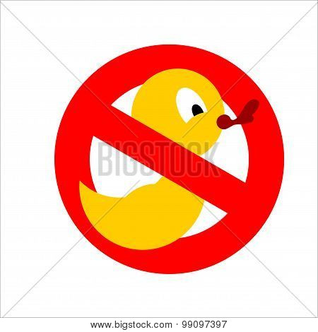 Banning Sign. Yellow Rubber Duck For Bathing Crossed. Dont Quack. You Cannot Bathe