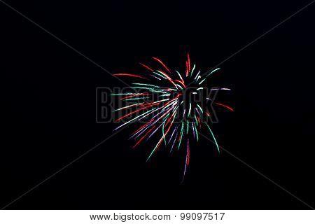 Firework on the black sky background.