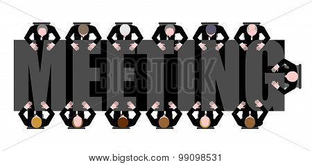 Meeting A Long Table. People Work In Office. Boss, Chief Commands. Vector Illustration Of Office Lif