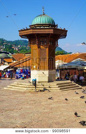Sebilj And Street Scene, Sarajevo