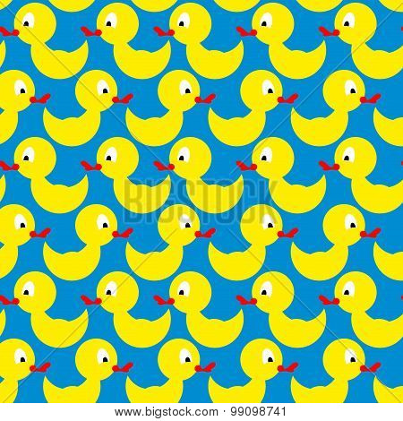 Bathing Duck Seamless Pattern. Background Of Yellow Toys. Vector Ornament Yellow Bird On A Blue Back