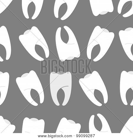 White Teeth On A Grey Background Seamless Pattern. Ornament  The Dentist Cabinet