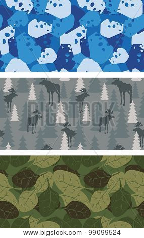 Military Set Of Textures. Winter Blue Camo Made Of Cheese. Grey Camouflage Army Seamless Moose And T