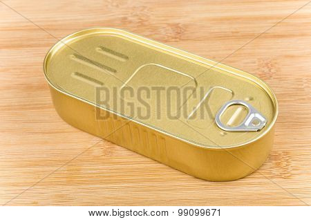 Oblong Metal Cans Fish With Ring Opening On Board
