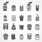 Постер, плакат: Trash can and recycle bin icons