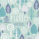 Hello winter leaves forest christmas tree garden illustration postcard cover design template typogra