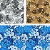 Постер, плакат: Set Of Military Camouflage Texture Military Texture Of Brains Camouflage Army Seamless Roses Sold